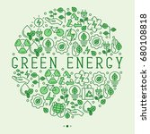 ecology concept in circle with... | Shutterstock .eps vector #680108818