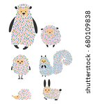 vector set of cartoon animals... | Shutterstock .eps vector #680109838