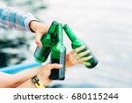cheers  group of young people... | Shutterstock . vector #680115244