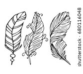 feather illustration on white... | Shutterstock . vector #680116048
