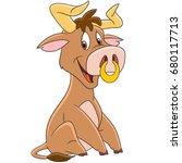 cartoon american bull  buffalo  ...