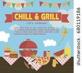 summer picnic party invitation... | Shutterstock .eps vector #680119186