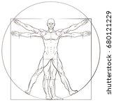 a human figure like leonard da... | Shutterstock .eps vector #680121229