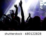 crowd with raised hands at... | Shutterstock . vector #680122828
