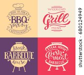 retro grill badges and labels... | Shutterstock .eps vector #680124949