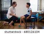 smiling female therapist... | Shutterstock . vector #680126104