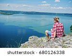 portrait of a hipster in a hat... | Shutterstock . vector #680126338
