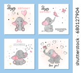 cute elephants vector... | Shutterstock .eps vector #680127904