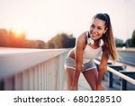 portrait of woman taking break... | Shutterstock . vector #680128510
