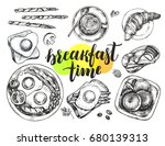 breakfast set. english fried... | Shutterstock .eps vector #680139313