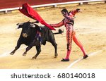 spanish bullfight. the enraged... | Shutterstock . vector #680140018