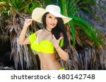 beautiful brunette with long... | Shutterstock . vector #680142748