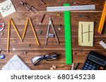 text math composed of pencils ...   Shutterstock . vector #680145238