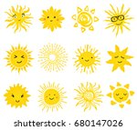 cute vector set of sun icons.... | Shutterstock .eps vector #680147026