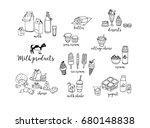 cheese  milk shake  butter ... | Shutterstock . vector #680148838
