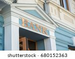 bank sign on traditional europe ... | Shutterstock . vector #680152363