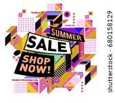 summer sale geometric style web ... | Shutterstock .eps vector #680158129