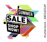 summer sale geometric style web ... | Shutterstock .eps vector #680160169
