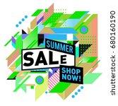summer sale geometric style web ... | Shutterstock .eps vector #680160190