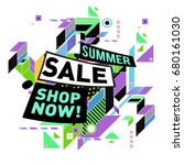 summer sale geometric style web ... | Shutterstock .eps vector #680161030