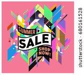 summer sale geometric style web ... | Shutterstock .eps vector #680161528