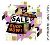 summer sale geometric style web ... | Shutterstock .eps vector #680172493