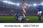 soccer player makes a dramatic... | Shutterstock . vector #680174914