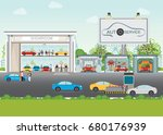 set of car service station ... | Shutterstock .eps vector #680176939