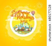 summer travel vector concept.... | Shutterstock .eps vector #680177128