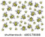 honey bee on white background.  ...   Shutterstock .eps vector #680178088