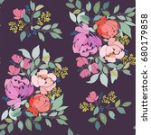 seamless pattern with floral... | Shutterstock .eps vector #680179858