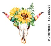 watercolor bull skull head with ... | Shutterstock . vector #680180299