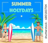 summer poster for holidays with ... | Shutterstock .eps vector #680183704