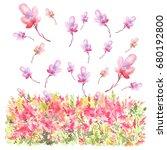 watercolor postcard  card ... | Shutterstock . vector #680192800