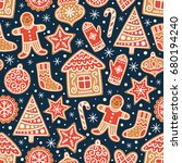 winter seamless patterns with... | Shutterstock .eps vector #680194240