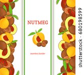 nutmeg verticall seamless... | Shutterstock . vector #680198599