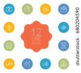 set of 12 trade outline icons... | Shutterstock .eps vector #680204590