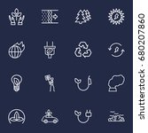 set of 16 bio outline icons set.... | Shutterstock .eps vector #680207860