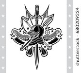 knight helmet in center of... | Shutterstock .eps vector #680209234