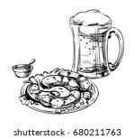 beer glass  mug and snack ... | Shutterstock .eps vector #680211763