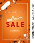 orange flyer for halloween sale.... | Shutterstock .eps vector #680215240