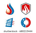 hvac icons. heating ... | Shutterstock .eps vector #680215444