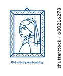 girl with a pearl earring.... | Shutterstock .eps vector #680216278