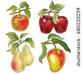 berries and fruits set.... | Shutterstock .eps vector #680220259