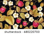 seamless botanical pattern with ... | Shutterstock .eps vector #680220703