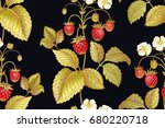 seamless botanical pattern with ... | Shutterstock .eps vector #680220718