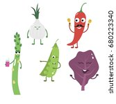 set of funny characters from...   Shutterstock .eps vector #680223340