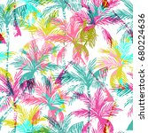 abstract colorful palm trees... | Shutterstock .eps vector #680224636