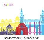 Karachi skyline pop in editable vector file