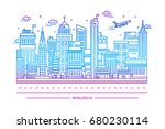 megalopolis  big city life.... | Shutterstock . vector #680230114